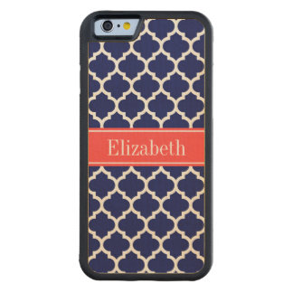 Navy Blue Wht Moroccan #5 Coral Red Name Monogram Maple iPhone 6 Bumper Case