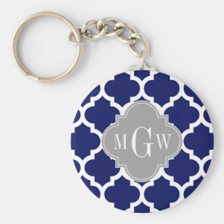 Navy Blue Wht Moroccan #5 Gray 3 Initial Monogram Basic Round Button Key Ring