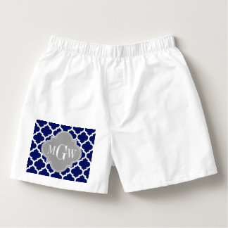 Navy Blue Wht Moroccan #5 Gray 3 Initial Monogram Boxers