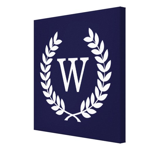 Navy Blue Wht Wheat Laurel Wreath Initial Monogram Stretched Canvas Print