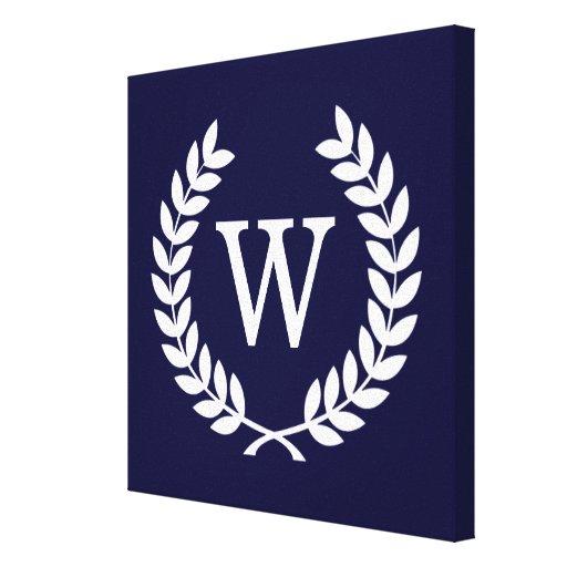 Navy Blue Wht Wheat Laurel Wreath Initial Monogram Stretched Canvas Print