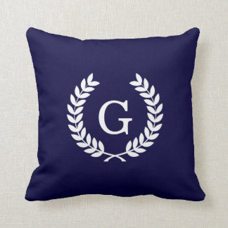 Navy Blue Wht Wheat Laurel Wreath Initial Monogram Cushion