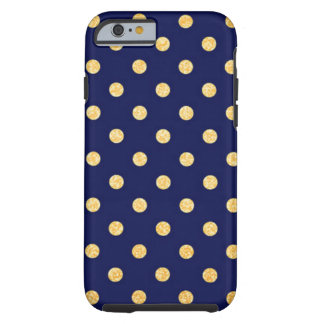 Navy Blue with Gold Dots Tough iPhone 6 Case