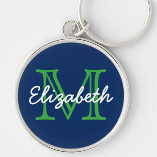 Navy Blue With Green and White Monogram Key Ring