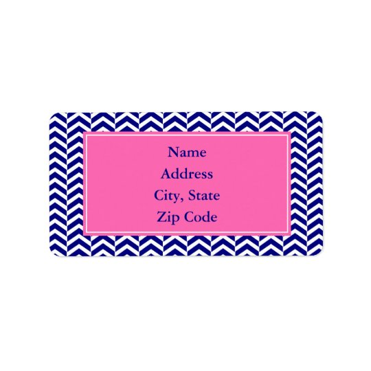 Navy Blue with Hot Pink Chevron Pattern Address Label