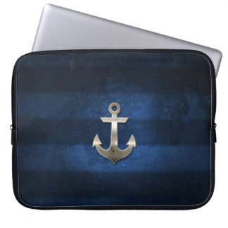 Navy Blue with Metal Anchor Laptop Sleeve