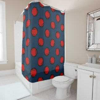 Navy Blue with Red Circles Dots Diagonal Pattern Shower Curtain