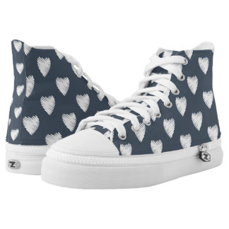 Navy Blue with White Hearts High Tops