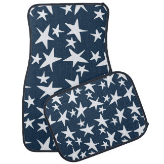 Navy Blue with White Stars Car Mats