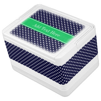 Navy Blue Wt Polka Dot Emerald Green Name Monogram Cooler