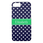 Navy Blue Wt Polka Dot Emerald Green Name Monogram iPhone 8/7 Case