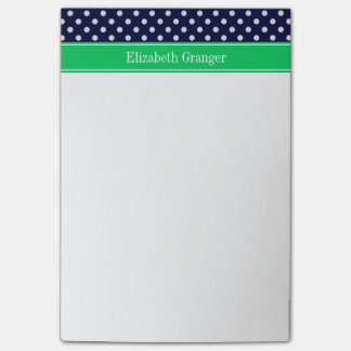 Navy Blue Wt Polka Dot Emerald Green Name Monogram Post-it® Notes