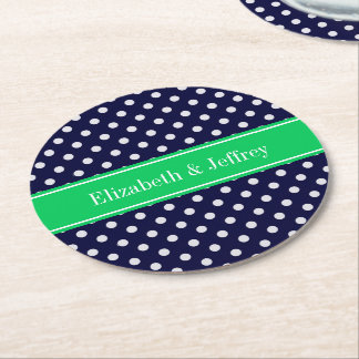 Navy Blue Wt Polka Dot Emerald Green Name Monogram Round Paper Coaster