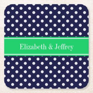 Navy Blue Wt Polka Dot Emerald Green Name Monogram Square Paper Coaster