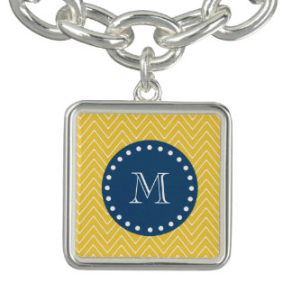 Navy Blue, Yellow Chevron Pattern | Your Monogram