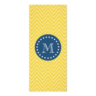 Navy Blue, Yellow Chevron Pattern | Your Monogram 10 Cm X 24 Cm Invitation Card