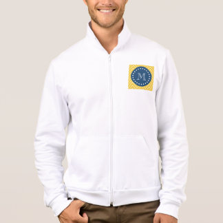 Navy Blue, Yellow Chevron Pattern   Your Monogram Jacket