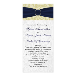 navy blue & yellow damask  Wedding program Rack Card