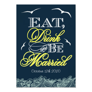 "Navy Blue & Yellow Nautical Wedding Invitations 5"" X 7"" Invitation Card"