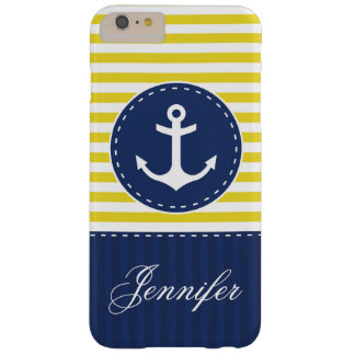 Navy Blue Yellow Pattern Anchor Personalized Barely There iPhone 6 Plus Case