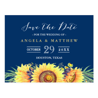 Navy Blue Yellow Sunflowers Wedding Save the Date Postcard