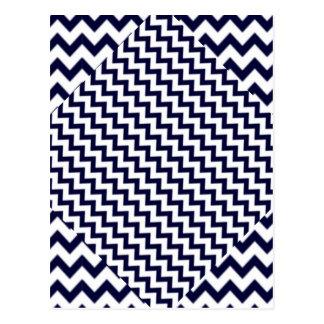 Navy Blue Zig-Zag on White Postcard