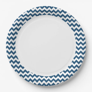 Navy Blue Zigzag Stripes Chevron Pattern Paper Plate