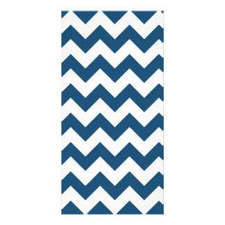 Navy Blue Zigzag Stripes Chevron Pattern Photo Card Template