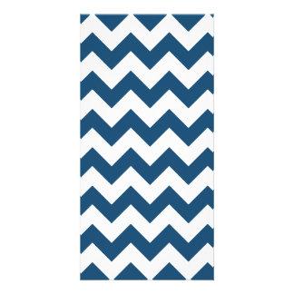 Navy Blue Zigzag Stripes Chevron Pattern Photo Card Template