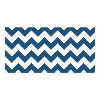 Navy Blue Zigzag Stripes Chevron Pattern Picture Card