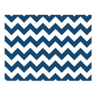Navy Blue Zigzag Stripes Chevron Pattern Postcard