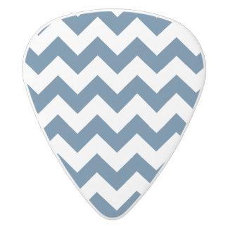 Navy Blue Zigzag Stripes Chevron Pattern White Delrin Guitar Pick