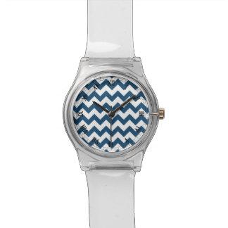 Navy Blue Zigzag Stripes Chevron Pattern Wrist Watches