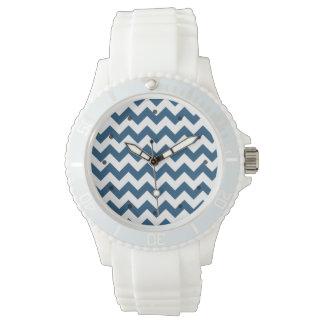 Navy Blue Zigzag Stripes Chevron Pattern Wristwatch
