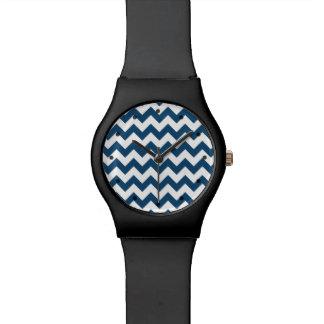 Navy Blue Zigzag Stripes Chevron Pattern Wristwatches
