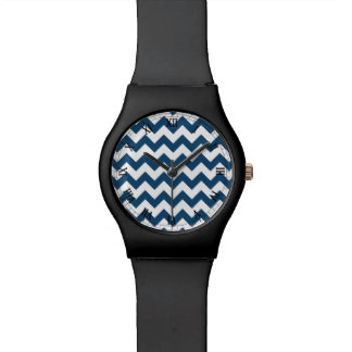 Navy Blue Zigzag Stripes Chevron Pattern Wristwatches