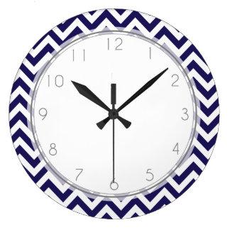 Navy Blue Zigzag Stripes Pattern Large Clock