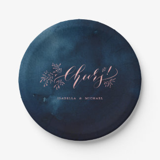 Navy blush calligraphy cheers rustic floral party paper plate