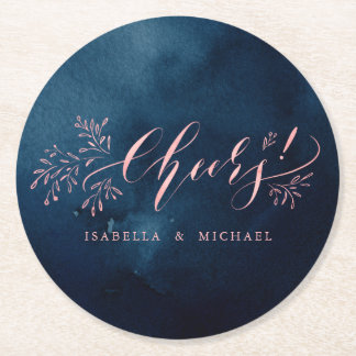 Navy blush calligraphy cheers rustic floral party round paper coaster