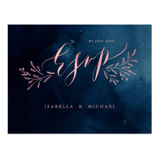 Navy blush calligraphy rustic floral wedding RSVP Postcard