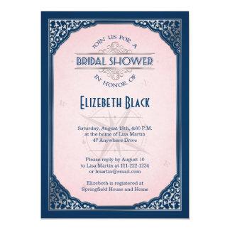 Navy Blush Pink Silver Vintage Frame Bridal Shower Card