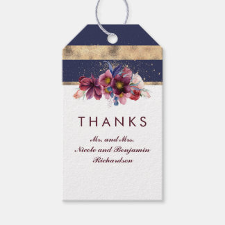 Navy Burgundy and Gold Floral Wedding Gift Tags