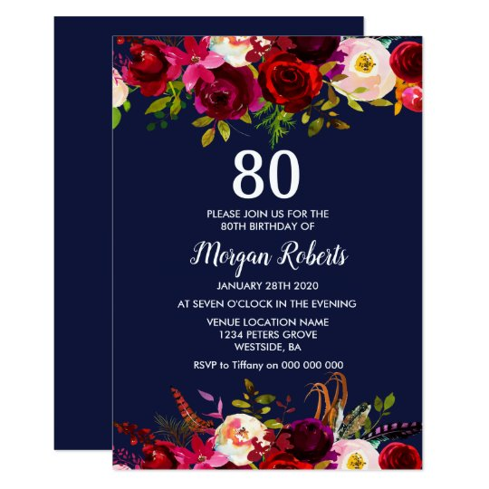 Navy Burgundy Floral 80th Birthday Party Invite