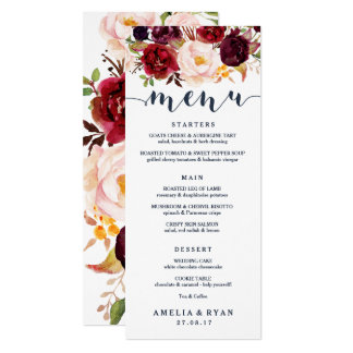 Navy Burgundy Floral Wedding Menu Card