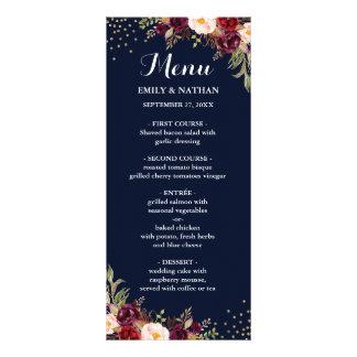 Navy Burgundy Gold Confetti Floral Wedding Menu