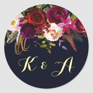 Navy Burgundy Marsala Rustic Boho Floral Monogram Classic Round Sticker