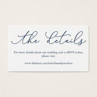 Navy Calligraphy Wedding Website Enclosure Card