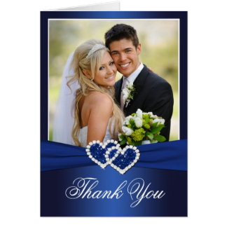 Navy Celtic Love Knot Photo Thank You Card