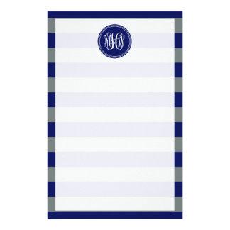 Navy Charcoal Horiz Stripe #3 Navy Vine Monogram Personalized Stationery