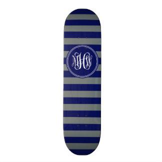 Navy Charcoal Horiz Stripe #3 Navy Vine Monogram 21.6 Cm Old School Skateboard Deck